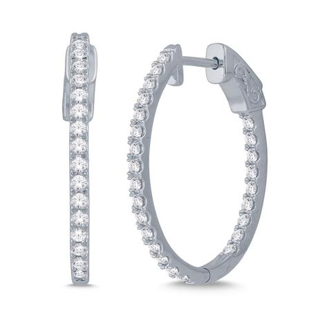 1.00CTW In and Out Diamond Hoops- Oval