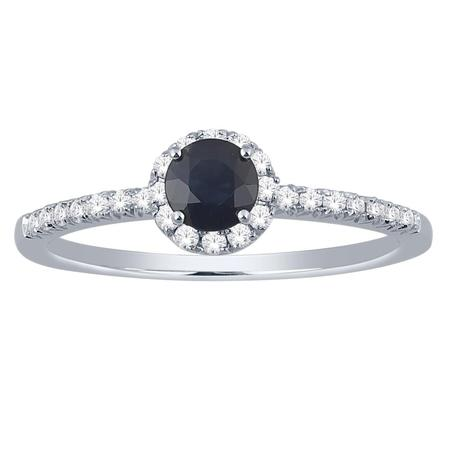 Sapphire and Diamond Halo Ring- Round