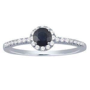 Sapphire and Diamond Halo Ring- Round