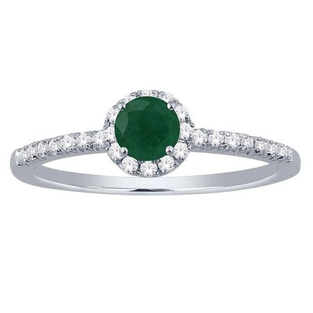 Emerald and Diamond Halo Ring- Round