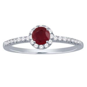Ruby and Diamond Halo Ring- Round