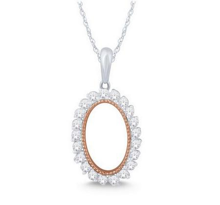 Oval Shaped Diamond Frame Pendant