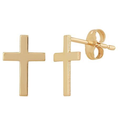 Plain Gold Cross Earrings