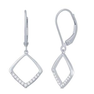 Cushion Shaped Diamond Dangle Earrings