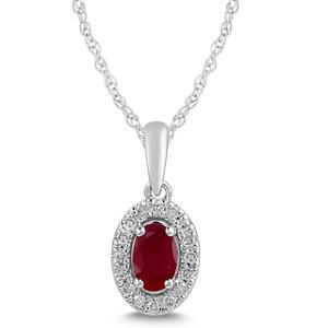 Ruby and Diamond Halo Pendant- Oval