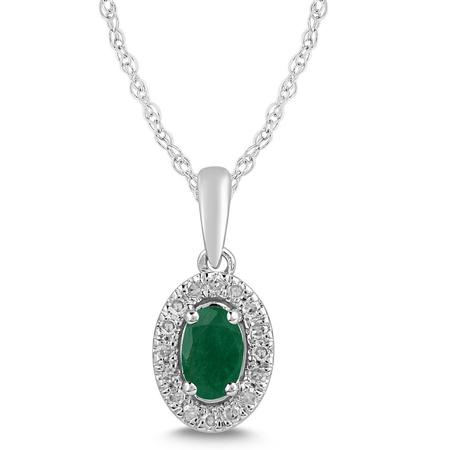 Emerald and Diamond Halo Pendant- Oval