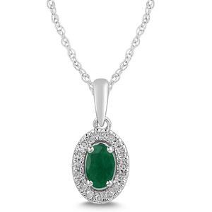 Emerald and Diamond Halo Pendant- Oval