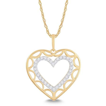 Heart Shaped Negative Space Diamond Pendant