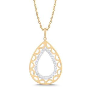 Pear Shaped Negative Space Diamond Pendant