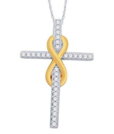 Diamond Cross Ribbon Pendant