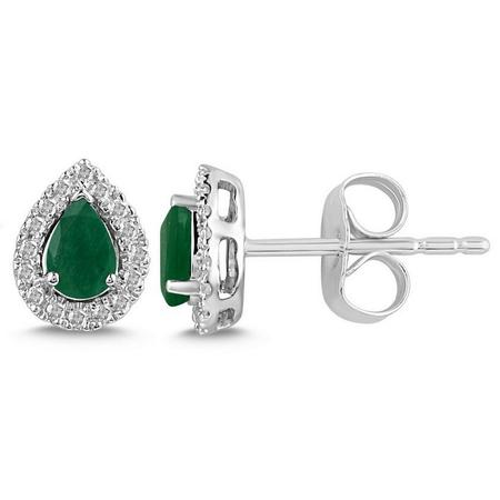 Pear Shaped Emerald and Diamond Halo Earrings