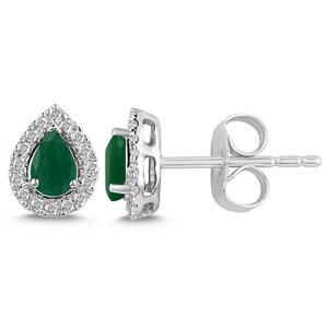 Pear Shaped Emerald and Diamond Halo Earrings