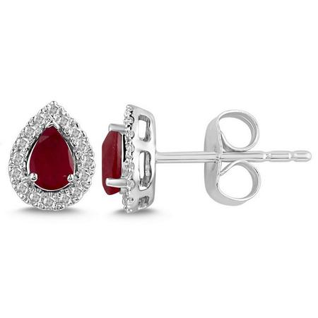 Pear Shaped Ruby and Diamond Halo Earrings