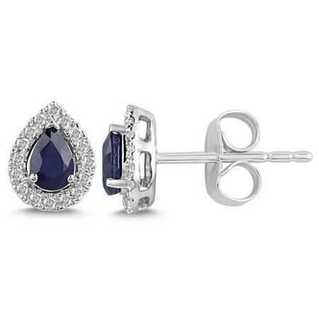 Pear Shaped Sapphire and Diamond Halo Earrings