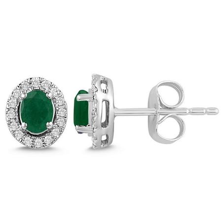 Oval Shaped Emerald and Diamond Halo Earrings
