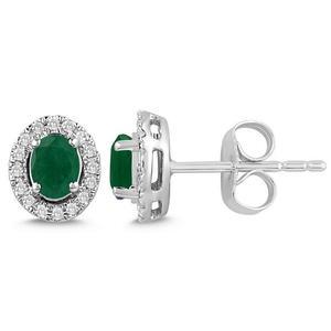 Oval Shaped Emerald and Diamond Halo Earrings