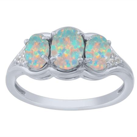 Created Opal Three Stone Ring