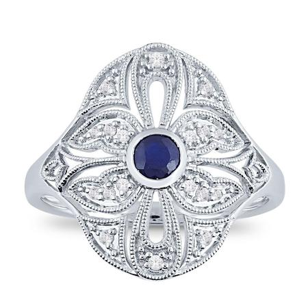 Vintage Style Bezel Sapphire Ring